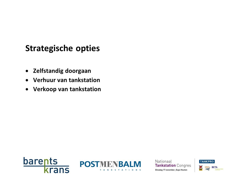 Strategische opties  Zelfstandig doorgaan  Verhuur van tankstation  Verkoop van tankstation