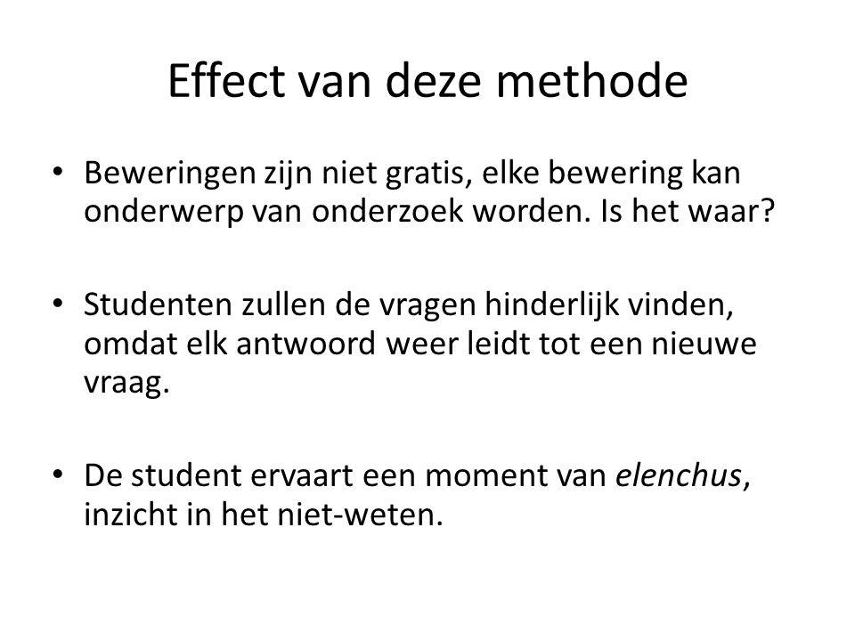 Effect van deze methode Beweringen zijn niet gratis, elke bewering kan onderwerp van onderzoek worden.
