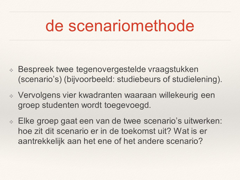 de scenariomethode ❖ Bespreek twee tegenovergestelde vraagstukken (scenario's) (bijvoorbeeld: studiebeurs of studielening).