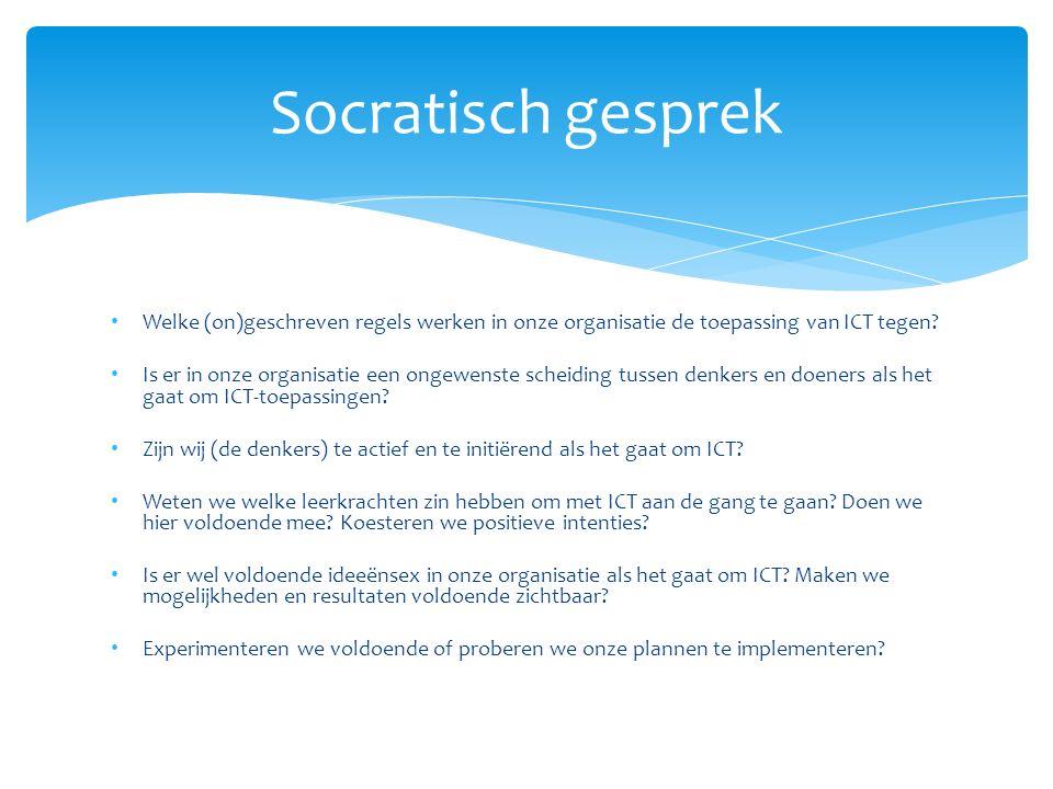 Welke (on)geschreven regels werken in onze organisatie de toepassing van ICT tegen.