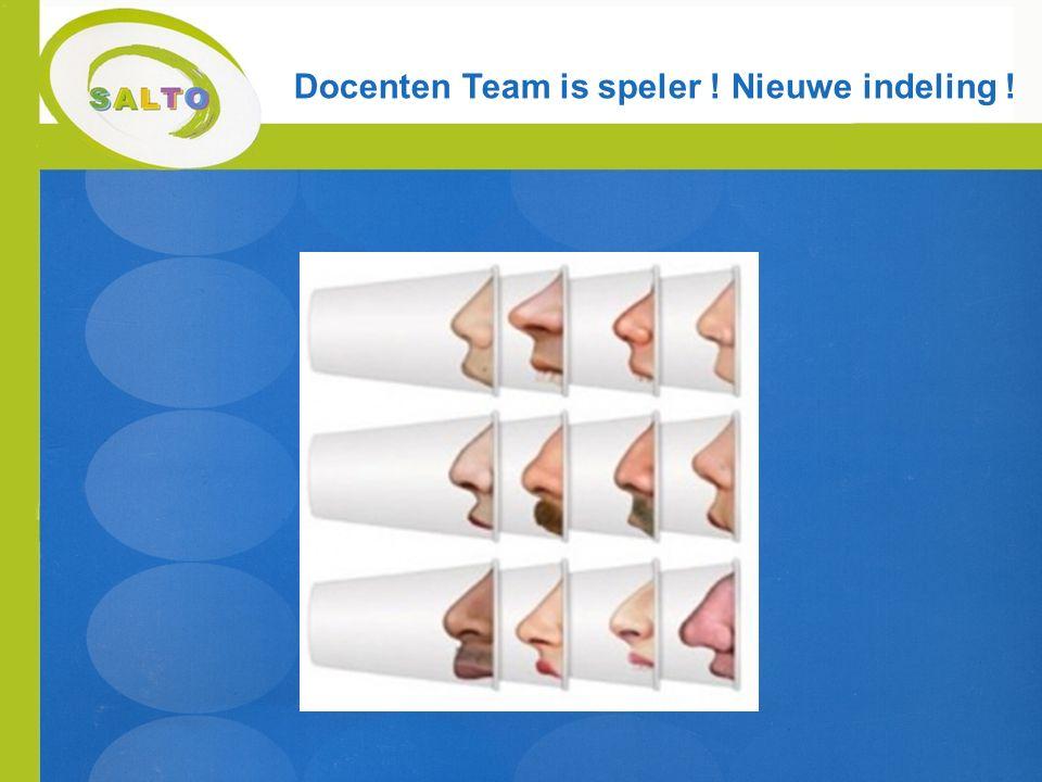 Docenten Team is speler ! Nieuwe indeling !