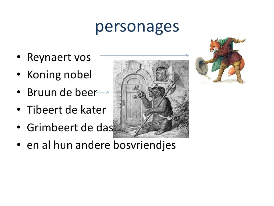 personages Reynaert vos Koning nobel Bruun de beer Tibeert de kater Grimbeert de das en al hun andere bosvriendjes