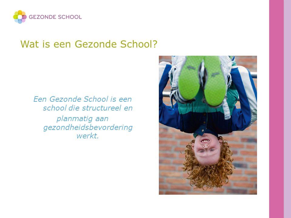 Wat is een Gezonde School? Een Gezonde School is een school die structureel en planmatig aan gezondheidsbevordering werkt.