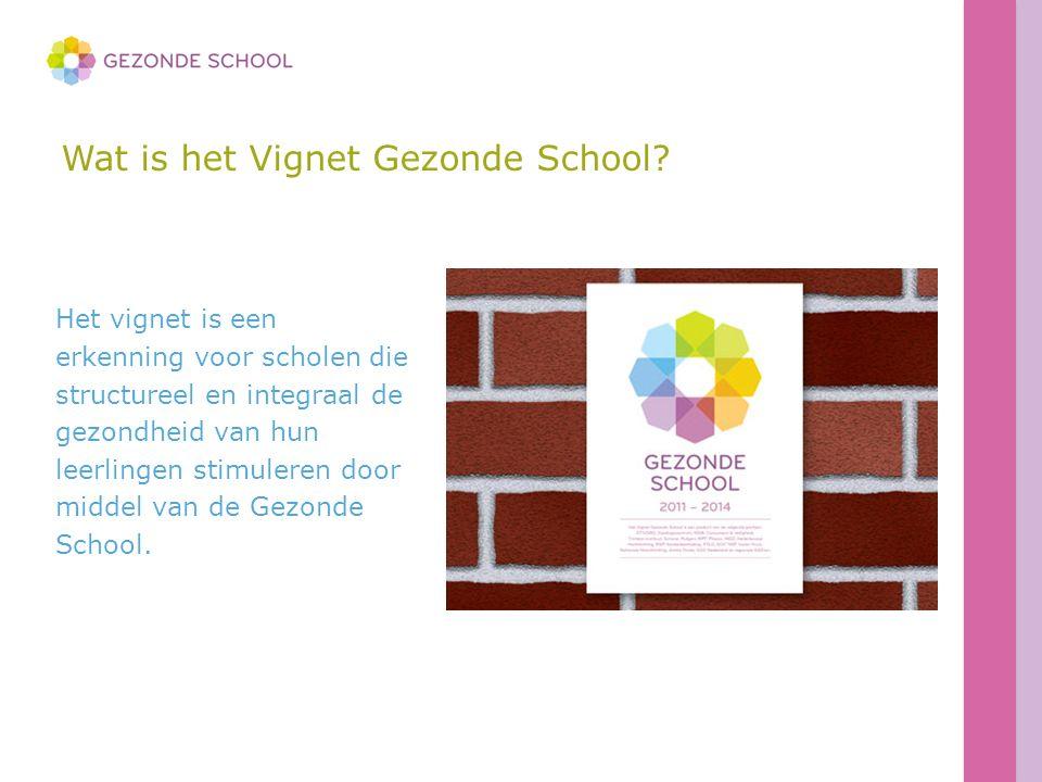 Wat is het Vignet Gezonde School? Het vignet is een erkenning voor scholen die structureel en integraal de gezondheid van hun leerlingen stimuleren do