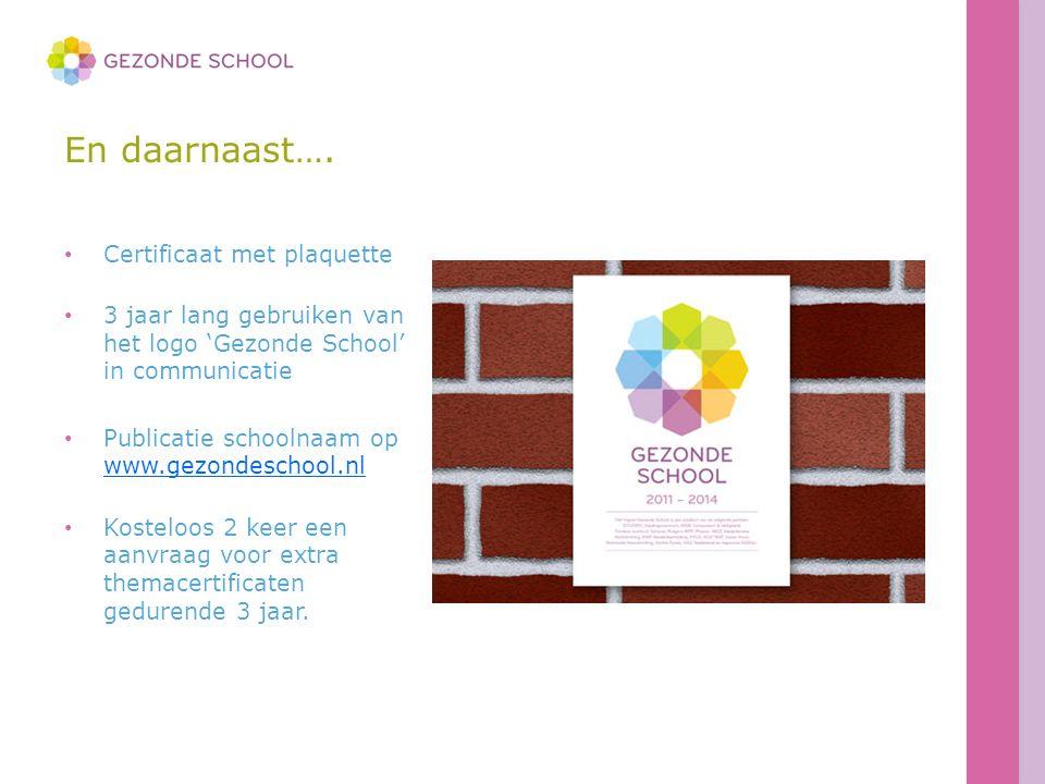 En daarnaast…. Certificaat met plaquette 3 jaar lang gebruiken van het logo 'Gezonde School' in communicatie Publicatie schoolnaam op www.gezondeschoo