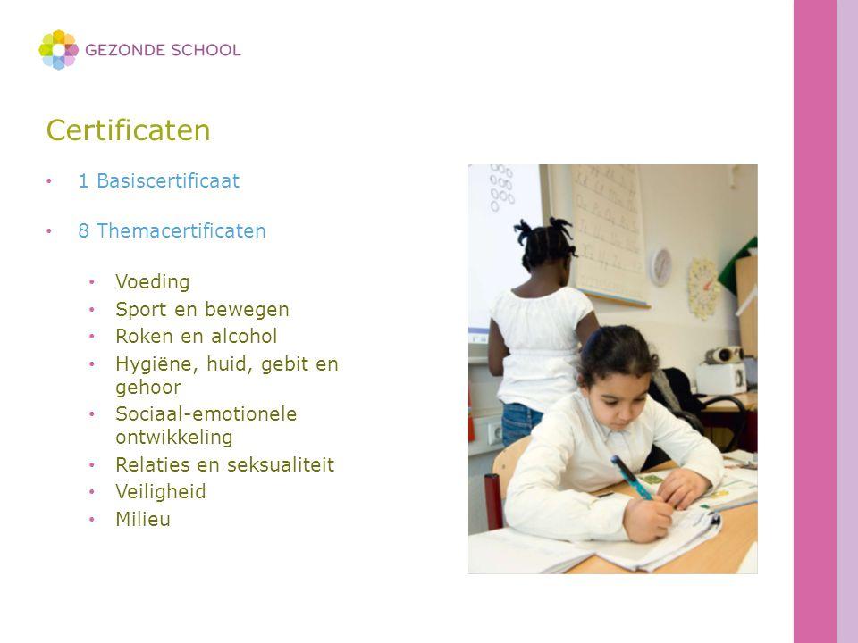Certificaten 1 Basiscertificaat 8 Themacertificaten Voeding Sport en bewegen Roken en alcohol Hygiëne, huid, gebit en gehoor Sociaal-emotionele ontwikkeling Relaties en seksualiteit Veiligheid Milieu