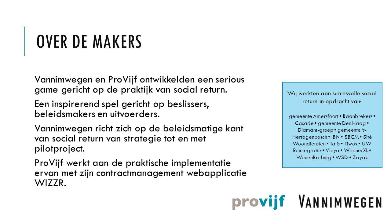 OVER DE MAKERS Vannimwegen en ProVijf ontwikkelden een serious game gericht op de praktijk van social return. Een inspirerend spel gericht op beslisse
