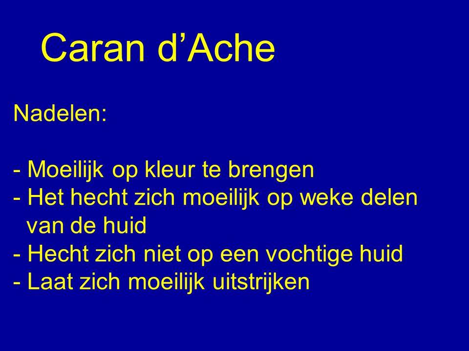 Caran d'Ache Nadelen: - Moeilijk op kleur te brengen - Het hecht zich moeilijk op weke delen van de huid - Hecht zich niet op een vochtige huid - Laat