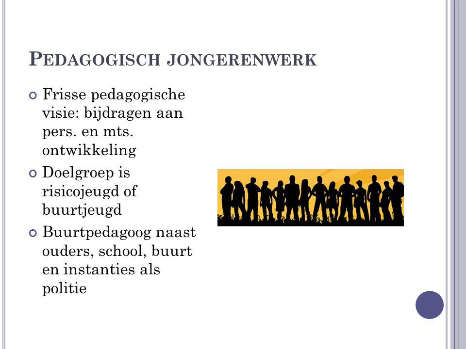 I NHOUD PEDAGOGISCH JONGERENWERK Jongerenwerker als positief rolmodel Activerende programma's gericht op identiteit en toekomstplan Zorgrelatie Onderdeel pedagogische buurt en lokaal jeugdbeleid Brug naar maatschappij