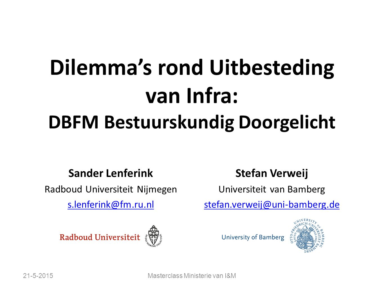 Dilemma's rond Uitbesteding van Infra: DBFM Bestuurskundig Doorgelicht Sander Lenferink Radboud Universiteit Nijmegen s.lenferink@fm.ru.nl Stefan Verw