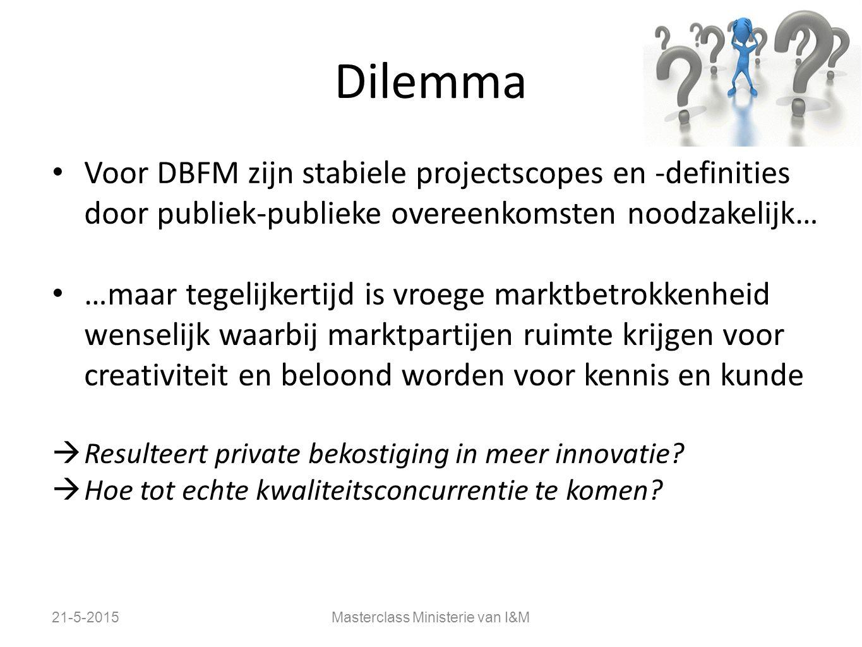 Dilemma Voor DBFM zijn stabiele projectscopes en -definities door publiek-publieke overeenkomsten noodzakelijk… …maar tegelijkertijd is vroege marktbe