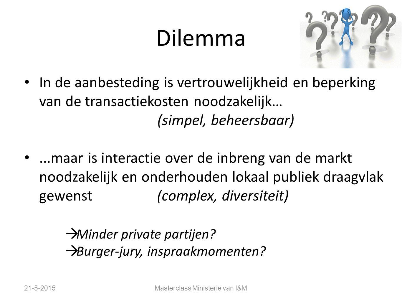 Dilemma In de aanbesteding is vertrouwelijkheid en beperking van de transactiekosten noodzakelijk… (simpel, beheersbaar)...maar is interactie over de