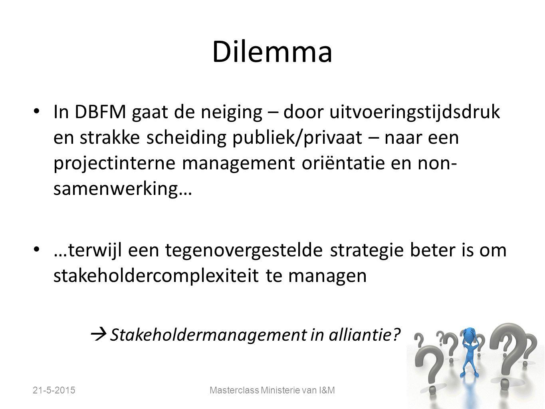 Dilemma In DBFM gaat de neiging – door uitvoeringstijdsdruk en strakke scheiding publiek/privaat – naar een projectinterne management oriëntatie en no