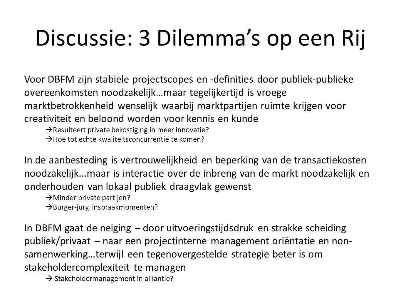 Discussie: 3 Dilemma's op een Rij Voor DBFM zijn stabiele projectscopes en -definities door publiek-publieke overeenkomsten noodzakelijk…maar tegelijk