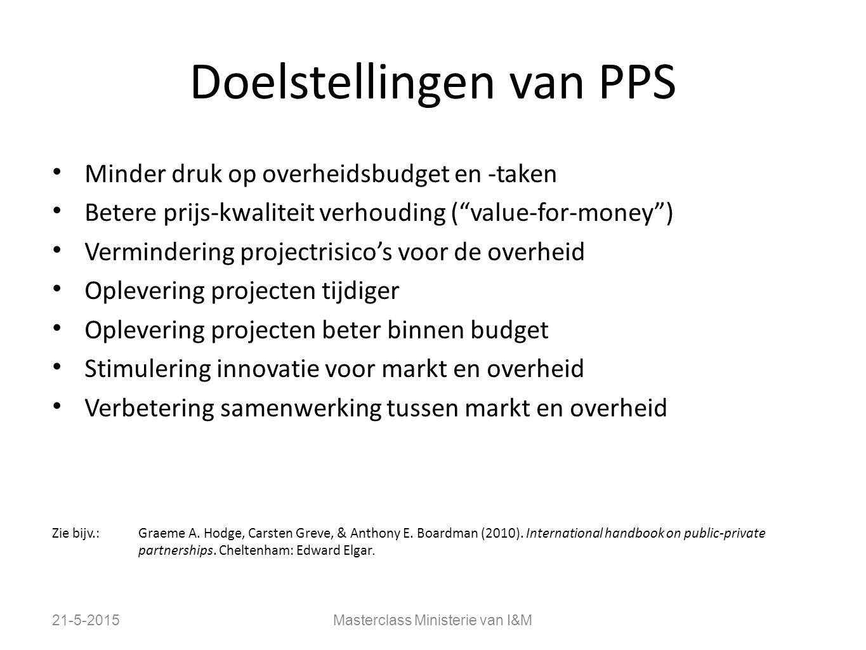 """Doelstellingen van PPS 21-5-2015Masterclass Ministerie van I&M Minder druk op overheidsbudget en -taken Betere prijs-kwaliteit verhouding (""""value-for-"""