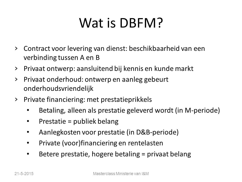Wat is DBFM? › Contract voor levering van dienst: beschikbaarheid van een verbinding tussen A en B › Privaat ontwerp: aansluitend bij kennis en kunde