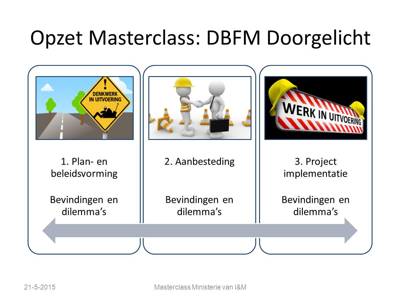 Opzet Masterclass: DBFM Doorgelicht 21-5-2015Masterclass Ministerie van I&M 1. Plan- en beleidsvorming Bevindingen en dilemma's 2. Aanbesteding …. Bev