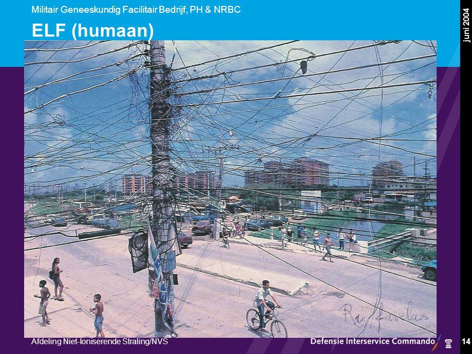 Militair Geneeskundig Facilitair Bedrijf, PH & NRBC Afdeling Niet-Ioniserende Straling/NVS juni 2004 14 ELF (humaan)