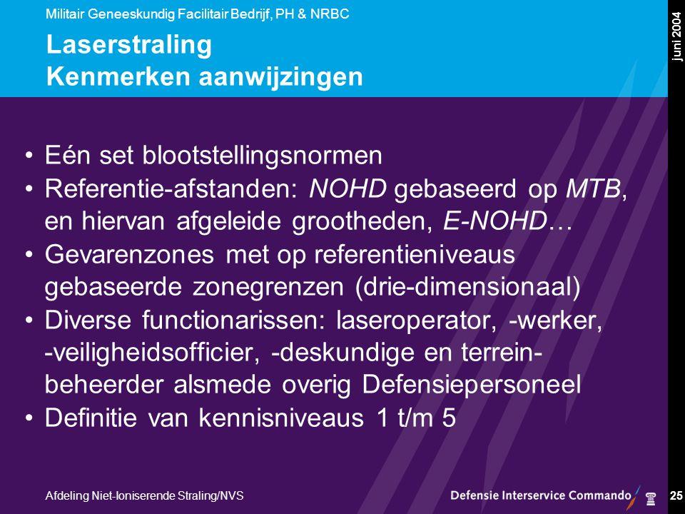 Militair Geneeskundig Facilitair Bedrijf, PH & NRBC Afdeling Niet-Ioniserende Straling/NVS juni 2004 25 Laserstraling Kenmerken aanwijzingen Eén set blootstellingsnormen Referentie-afstanden: NOHD gebaseerd op MTB, en hiervan afgeleide grootheden, E-NOHD… Gevarenzones met op referentieniveaus gebaseerde zonegrenzen (drie-dimensionaal) Diverse functionarissen: laseroperator, -werker, -veiligheidsofficier, -deskundige en terrein- beheerder alsmede overig Defensiepersoneel Definitie van kennisniveaus 1 t/m 5