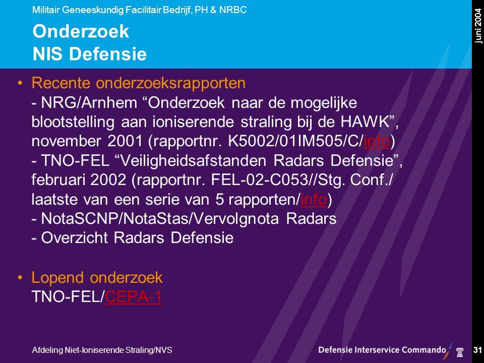Militair Geneeskundig Facilitair Bedrijf, PH & NRBC Afdeling Niet-Ioniserende Straling/NVS juni 2004 31 Onderzoek NIS Defensie Recente onderzoeksrapporten - NRG/Arnhem Onderzoek naar de mogelijke blootstelling aan ioniserende straling bij de HAWK , november 2001 (rapportnr.