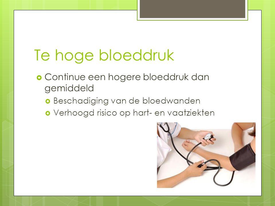 Te hoge bloeddruk  Continue een hogere bloeddruk dan gemiddeld  Beschadiging van de bloedwanden  Verhoogd risico op hart- en vaatziekten