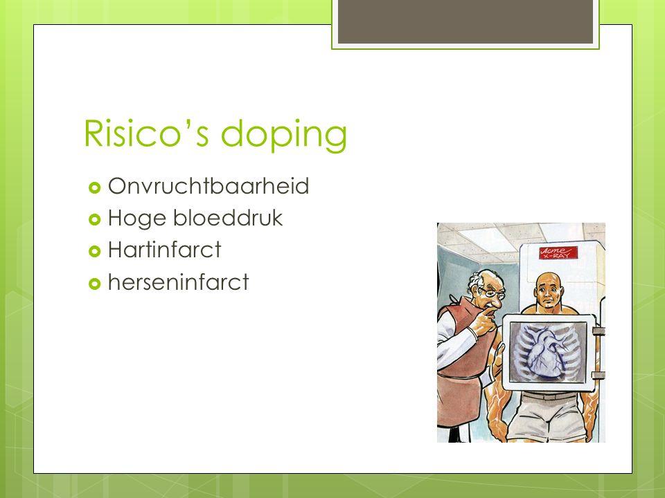 Risico's doping  Onvruchtbaarheid  Hoge bloeddruk  Hartinfarct  herseninfarct