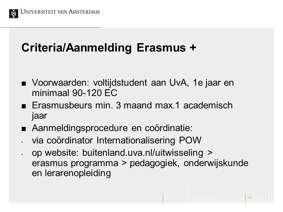 Criteria/Aanmelding Erasmus + Voorwaarden: voltijdstudent aan UvA, 1e jaar en minimaal 90-120 EC Erasmusbeurs min. 3 maand max.1 academisch jaar Aanme