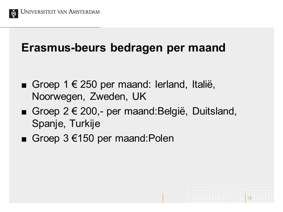 Erasmus-beurs bedragen per maand Groep 1 € 250 per maand: Ierland, Italië, Noorwegen, Zweden, UK Groep 2 € 200,- per maand:België, Duitsland, Spanje, Turkije Groep 3 €150 per maand:Polen 12