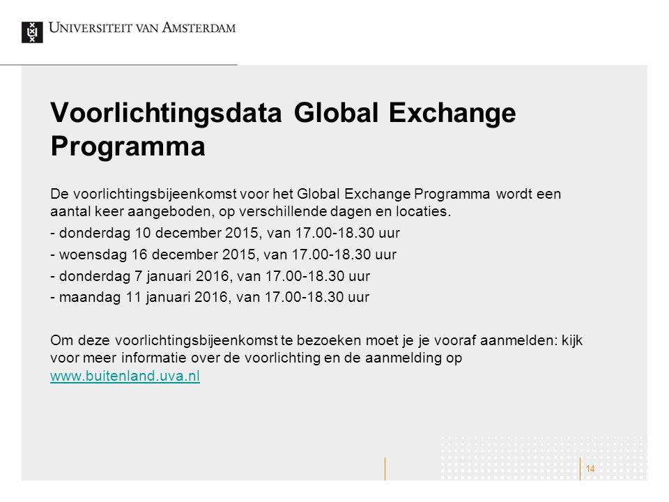 Voorlichtingsdata Global Exchange Programma De voorlichtingsbijeenkomst voor het Global Exchange Programma wordt een aantal keer aangeboden, op verschillende dagen en locaties.
