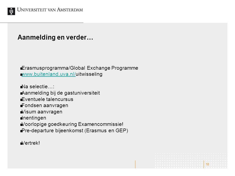 Aanmelding en verder… Erasmusprogramma/Global Exchange Programme www.buitenland.uva.nl/www.buitenland.uva.nl/uitwisseling Na selectie…: Aanmelding bij