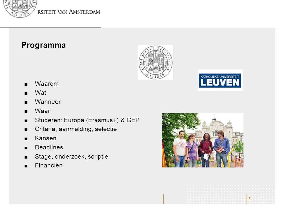 Programma Waarom Wat Wanneer Waar Studeren: Europa (Erasmus+) & GEP Criteria, aanmelding, selectie Kansen Deadlines Stage, onderzoek, scriptie Financi