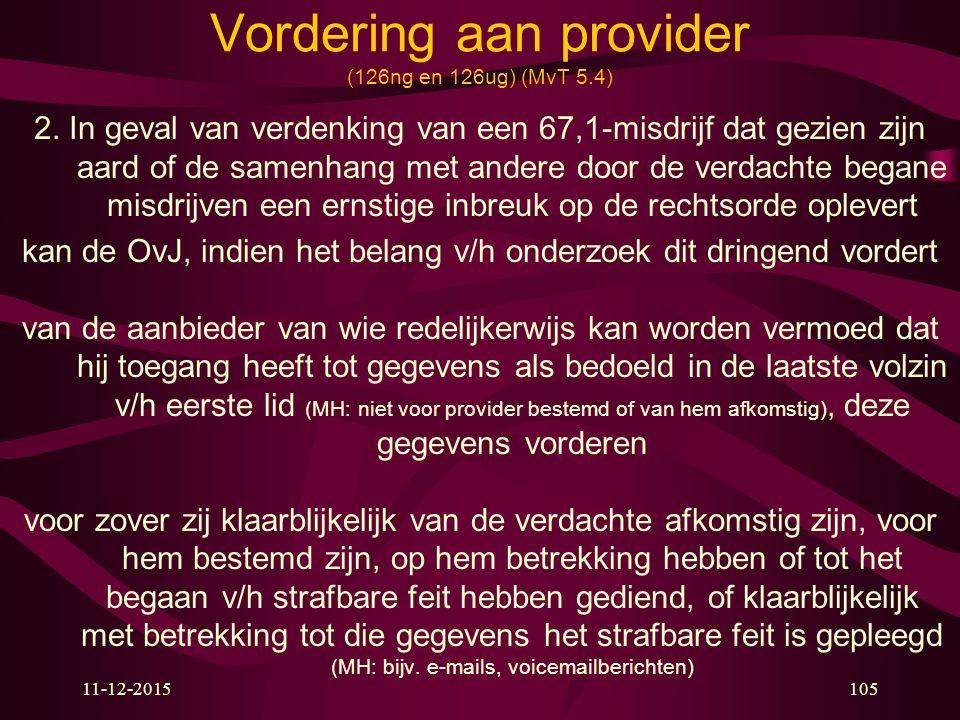 11-12-2015105 Vordering aan provider (126ng en 126ug) (MvT 5.4) 2. In geval van verdenking van een 67,1-misdrijf dat gezien zijn aard of de samenhang