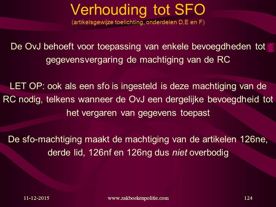 11-12-2015www.zakboekenpolitie.com124 Verhouding tot SFO (artikelsgewijze toelichting, onderdelen D,E en F) De OvJ behoeft voor toepassing van enkele
