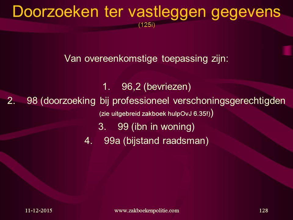 11-12-2015www.zakboekenpolitie.com128 Doorzoeken ter vastleggen gegevens (125i) Van overeenkomstige toepassing zijn: 1.96,2 (bevriezen) 2.98 (doorzoek