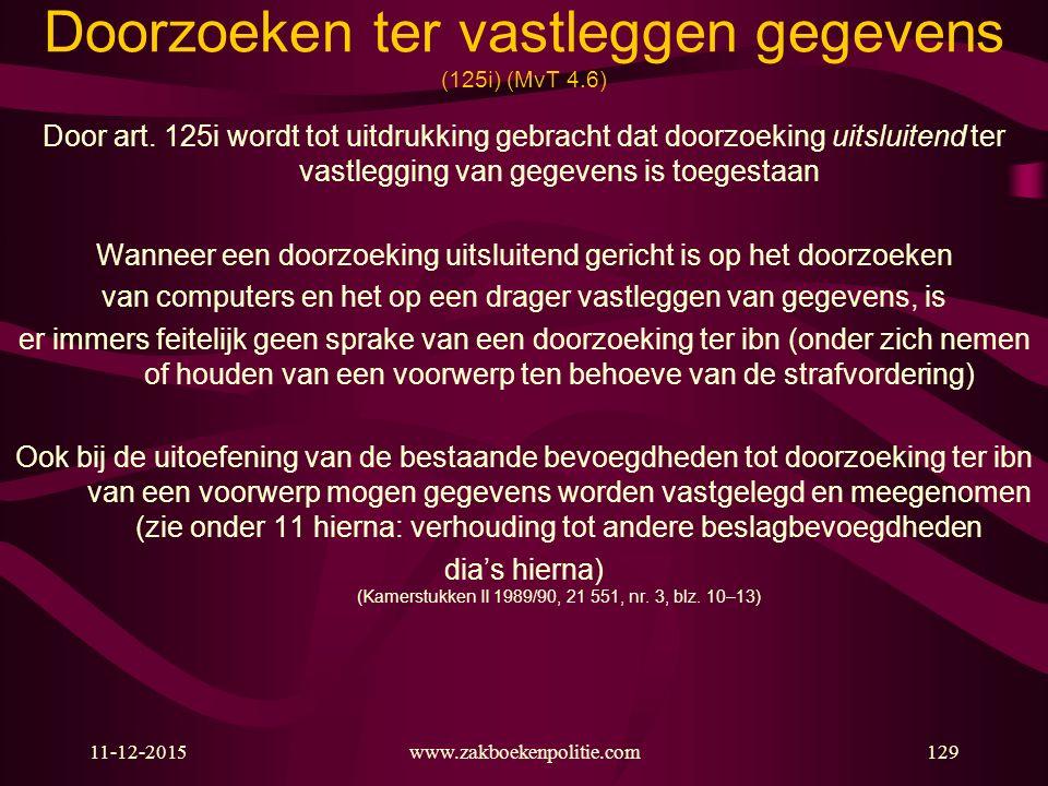 11-12-2015www.zakboekenpolitie.com129 Doorzoeken ter vastleggen gegevens (125i) (MvT 4.6) Door art. 125i wordt tot uitdrukking gebracht dat doorzoekin