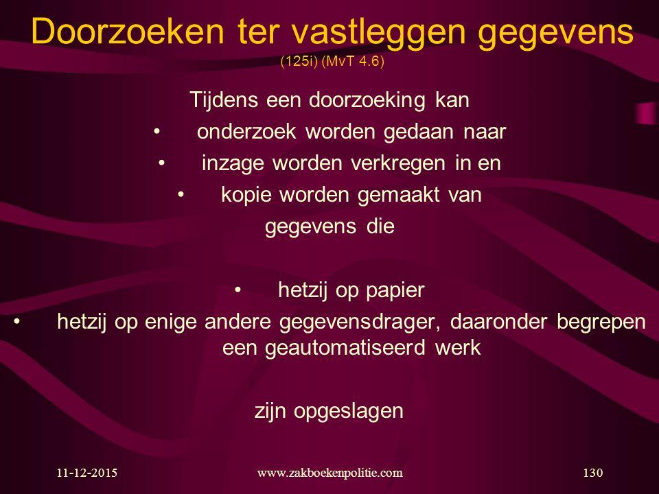 11-12-2015www.zakboekenpolitie.com130 Doorzoeken ter vastleggen gegevens (125i) (MvT 4.6) Tijdens een doorzoeking kan onderzoek worden gedaan naar inz