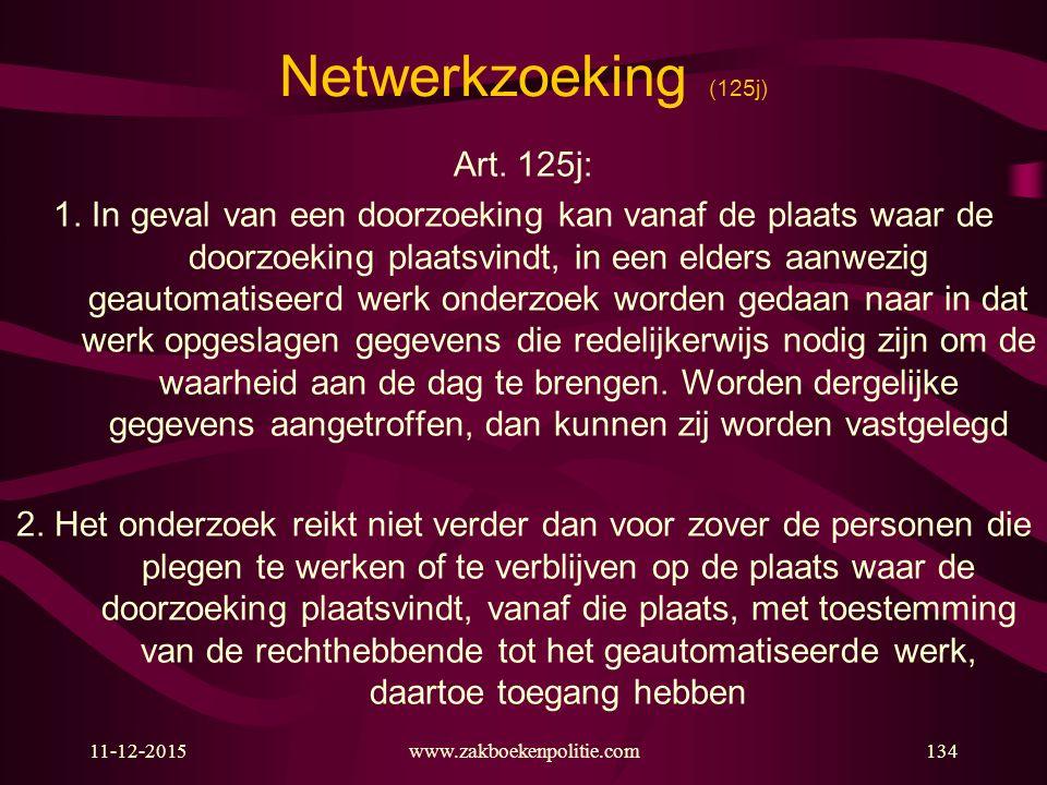 11-12-2015www.zakboekenpolitie.com134 Netwerkzoeking (125j) Art. 125j: 1. In geval van een doorzoeking kan vanaf de plaats waar de doorzoeking plaatsv