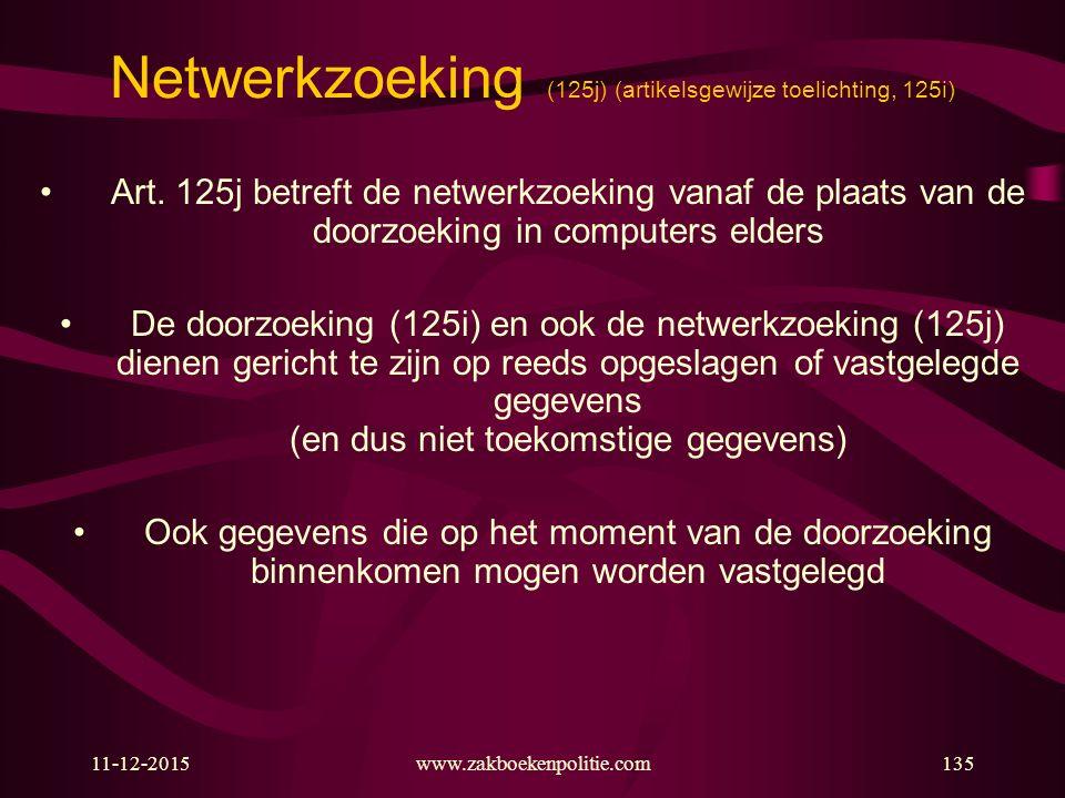 11-12-2015www.zakboekenpolitie.com135 Netwerkzoeking (125j) (artikelsgewijze toelichting, 125i) Art. 125j betreft de netwerkzoeking vanaf de plaats va