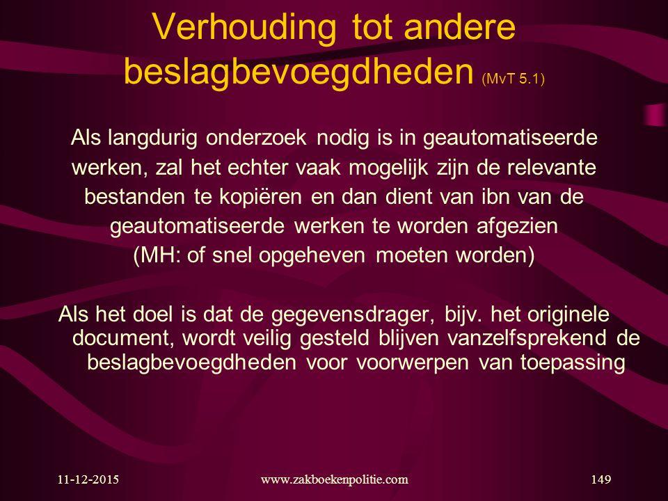 11-12-2015www.zakboekenpolitie.com149 Verhouding tot andere beslagbevoegdheden (MvT 5.1) Als langdurig onderzoek nodig is in geautomatiseerde werken,