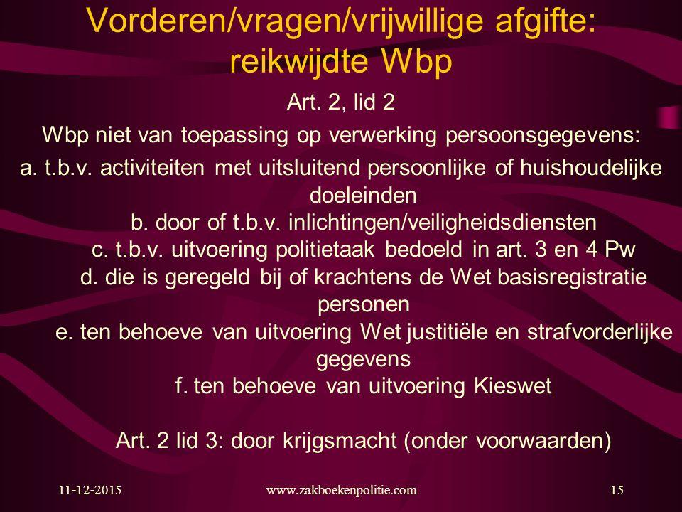 11-12-201515 Vorderen/vragen/vrijwillige afgifte: reikwijdte Wbp Art. 2, lid 2 Wbp niet van toepassing op verwerking persoonsgegevens: a. t.b.v. activ
