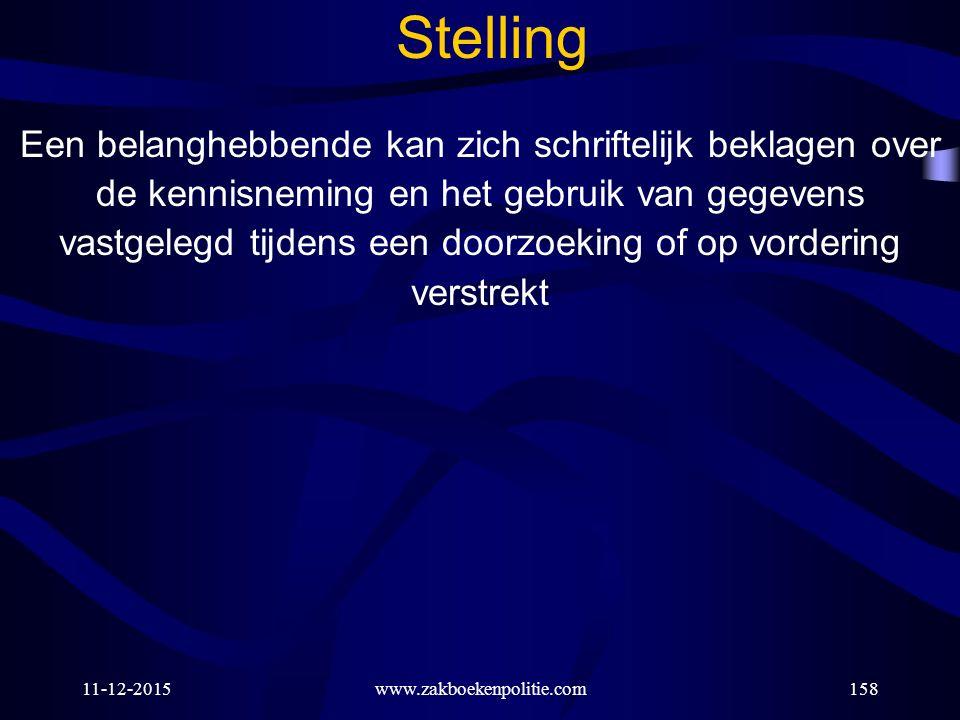 11-12-2015www.zakboekenpolitie.com158 Stelling Een belanghebbende kan zich schriftelijk beklagen over de kennisneming en het gebruik van gegevens vast