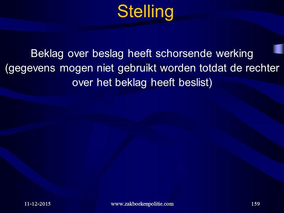 11-12-2015www.zakboekenpolitie.com159 Stelling Beklag over beslag heeft schorsende werking (gegevens mogen niet gebruikt worden totdat de rechter over