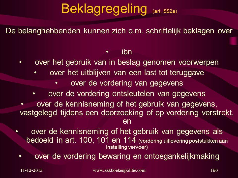 11-12-2015www.zakboekenpolitie.com160 Beklagregeling (art. 552a) De belanghebbenden kunnen zich o.m. schriftelijk beklagen over ibn over het gebruik v