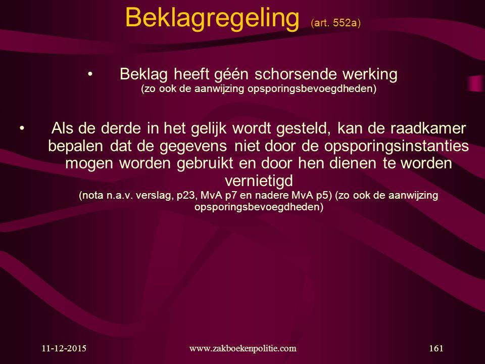 11-12-2015www.zakboekenpolitie.com161 Beklagregeling (art. 552a) Beklag heeft géén schorsende werking (zo ook de aanwijzing opsporingsbevoegdheden) Al