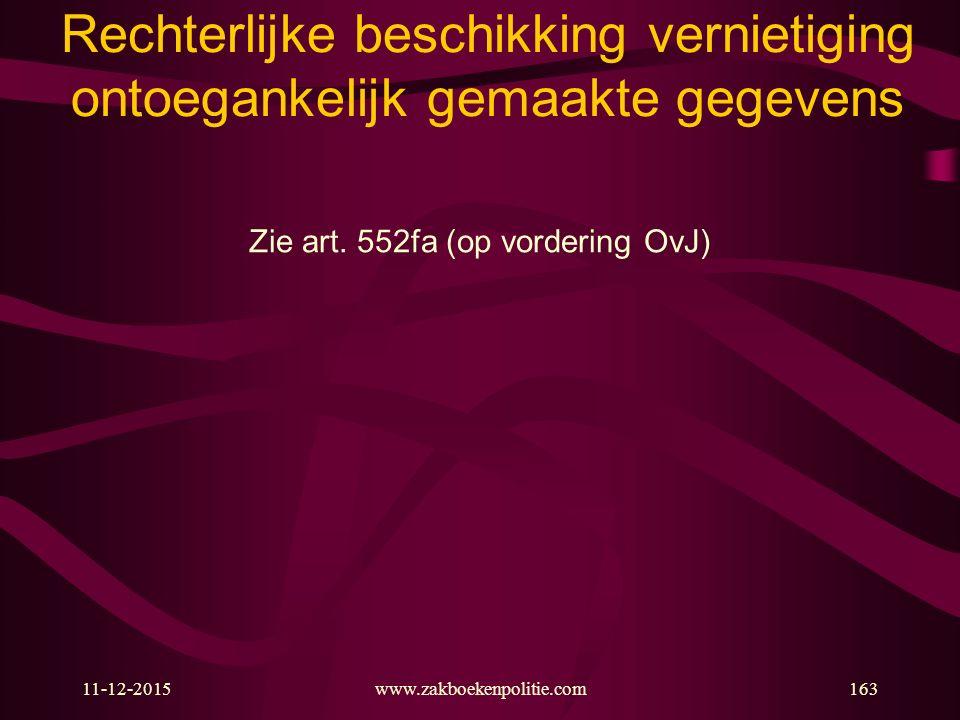 11-12-2015www.zakboekenpolitie.com163 Rechterlijke beschikking vernietiging ontoegankelijk gemaakte gegevens Zie art. 552fa (op vordering OvJ)