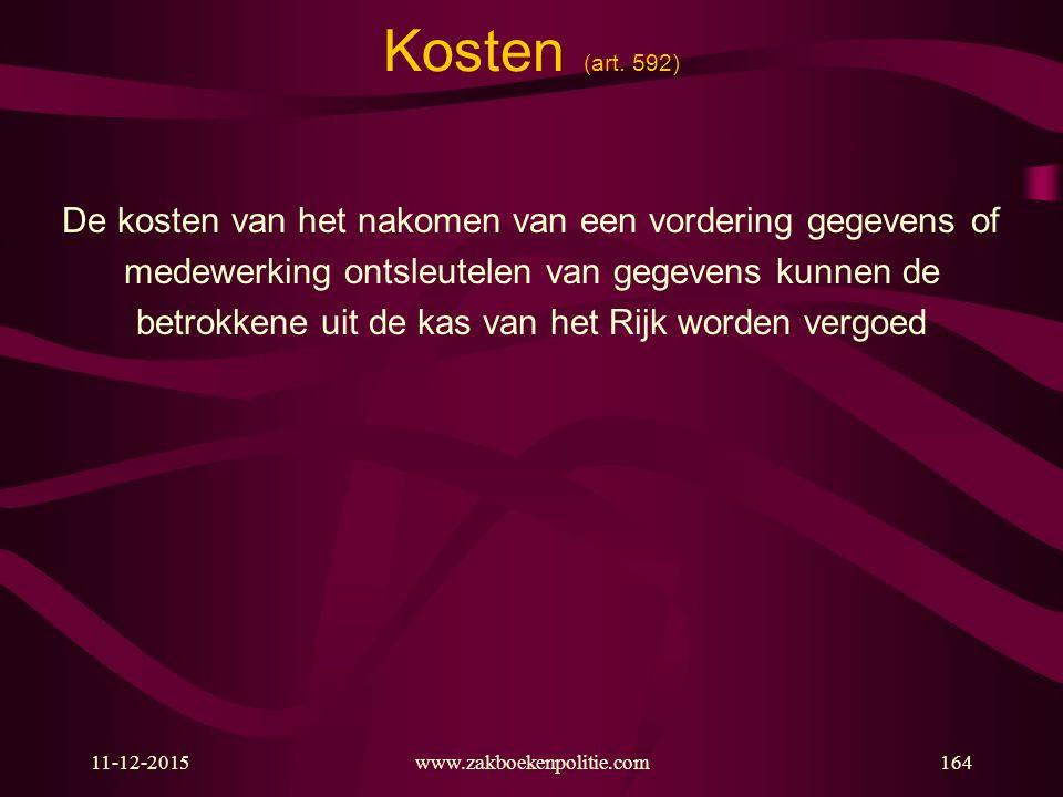 11-12-2015www.zakboekenpolitie.com164 Kosten (art. 592) De kosten van het nakomen van een vordering gegevens of medewerking ontsleutelen van gegevens