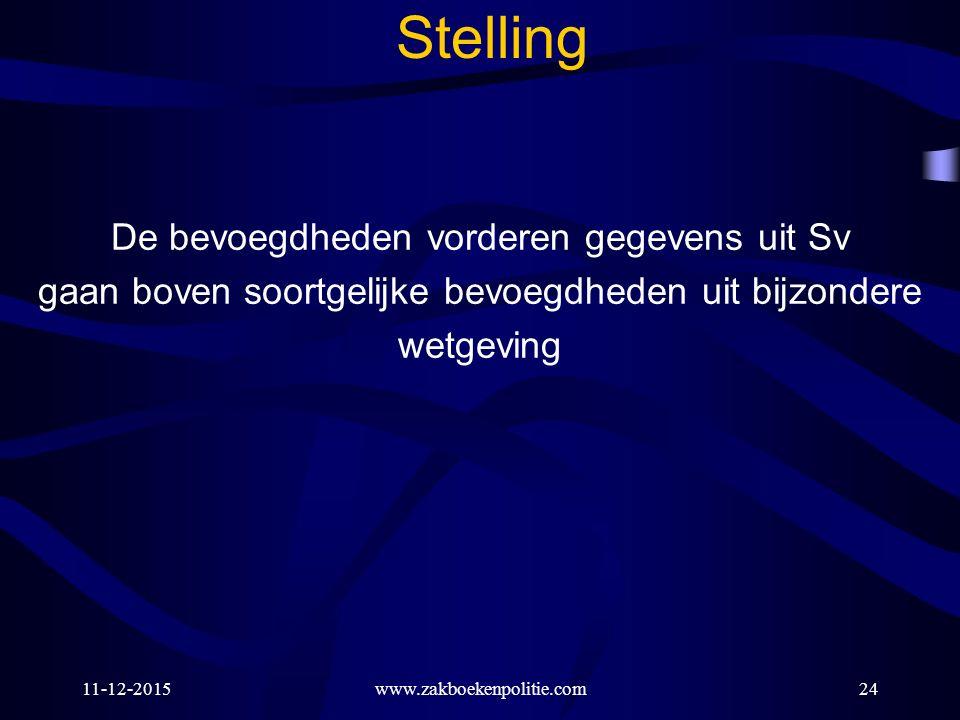 11-12-2015www.zakboekenpolitie.com24 Stelling De bevoegdheden vorderen gegevens uit Sv gaan boven soortgelijke bevoegdheden uit bijzondere wetgeving