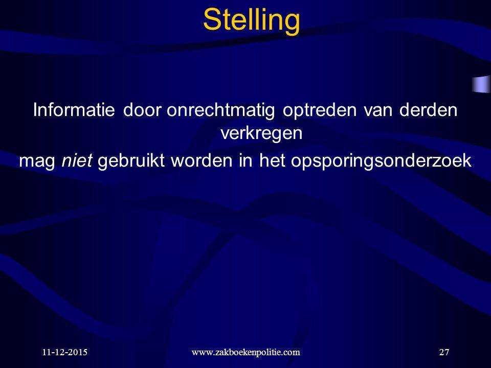 11-12-2015www.zakboekenpolitie.com27 Stelling Informatie door onrechtmatig optreden van derden verkregen mag niet gebruikt worden in het opsporingsond