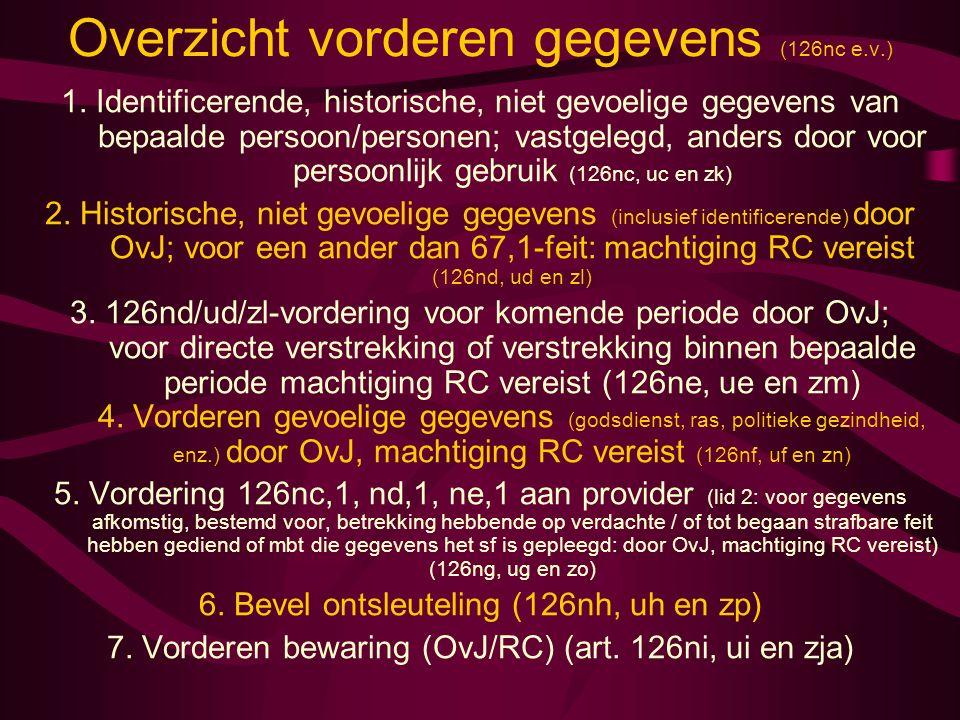 Overzicht vorderen gegevens (126nc e.v.) 1. Identificerende, historische, niet gevoelige gegevens van bepaalde persoon/personen; vastgelegd, anders do