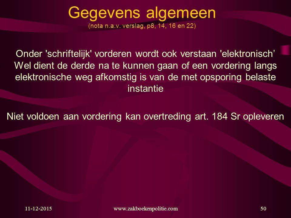 11-12-2015www.zakboekenpolitie.com50 Gegevens algemeen (nota n.a.v. verslag, p8, 14, 16 en 22) Onder 'schriftelijk' vorderen wordt ook verstaan 'elekt